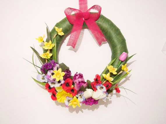 Spring Easter wreath  with spring flowers Mother's Day by Kreacje