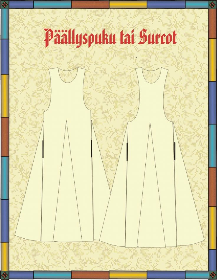 Surcoat, showing where pockets might go along the seams.