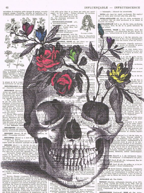 RoseSkullflowersskeleton headColourAntique by studioflowerpower, $9.50