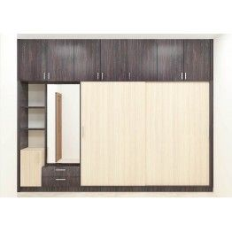 The sophisticated style with its great look adds a spectacular effect. Buy this furniture to add glam to your home and give a stunning look in order to enhance the beauty. Consisting loft, wall shelf, dressers and drawers. Made up of plywood with laminate finish.