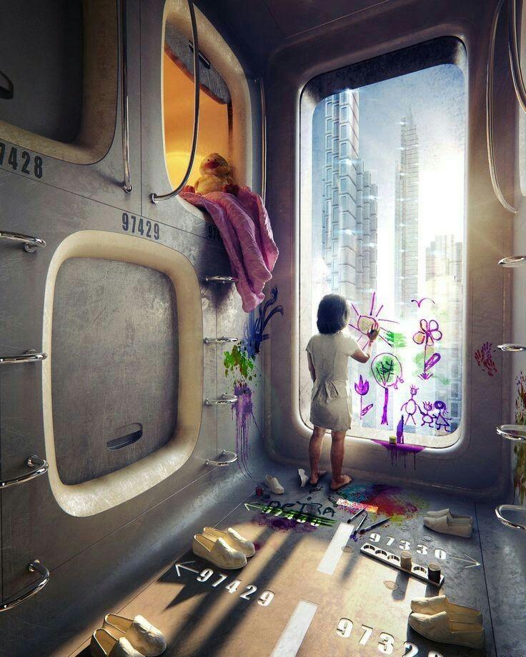 sci fi bedroom / Anime / digital art / futuristic fantasy