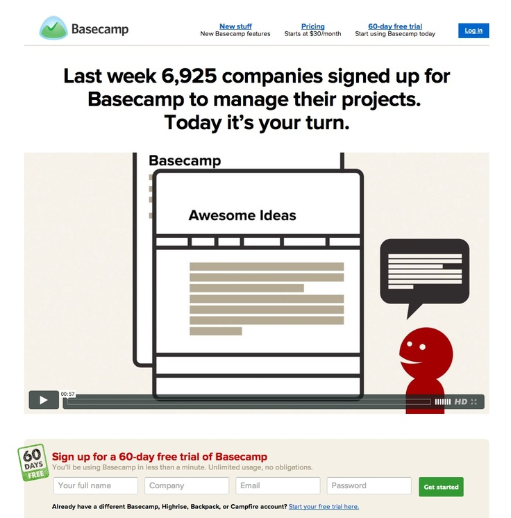 Brand new basecamp page