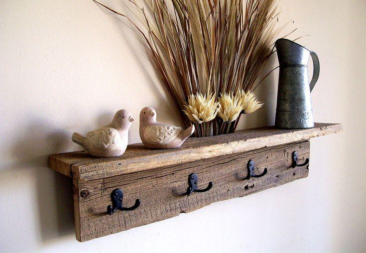 Wall Hung Coat Rack Shelf / Hat Rack / Key Rack / Towel Rack Rustic / Reclaimed / Barn Wood. $59.00, via Etsy.