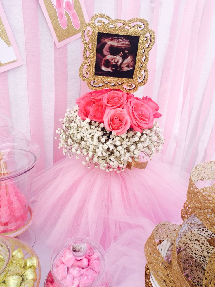 Ultrasound centerpiece for baby shower, ballerina tulle
