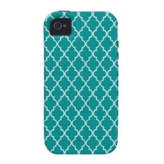 Light Teal Green & White Moroccan Trellis Pattern Vibe iPhone 4 Cover