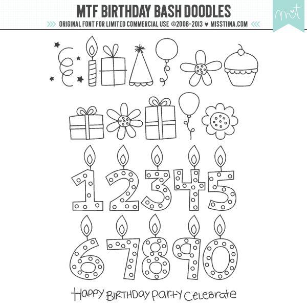 MTF Birthday Bash Doodles|MissTiina.com {Fonts} :: Illustration & Design, Digital Scrapbooking, Free Fonts, Tutorials and more!