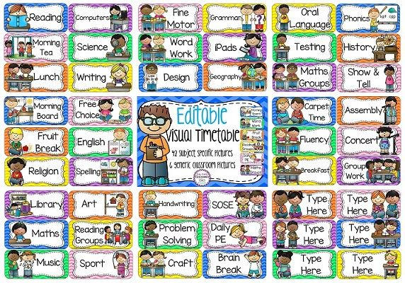 EDITABLE daily visual timetable. Perfect to be able to use the language that you use in your classroom for activities/subjects. Print small for individual students who may need their own desk version