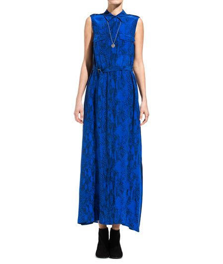 MAJOR LONG DRESS WITH PYTHON PRINT-Python print silk Major long dress color blue. Two chest pockets. Waist belt. Front buttons. COMPOSITION: 100% SILK. Model wears size S she is 182 cm tall and weighs 60 Kg.