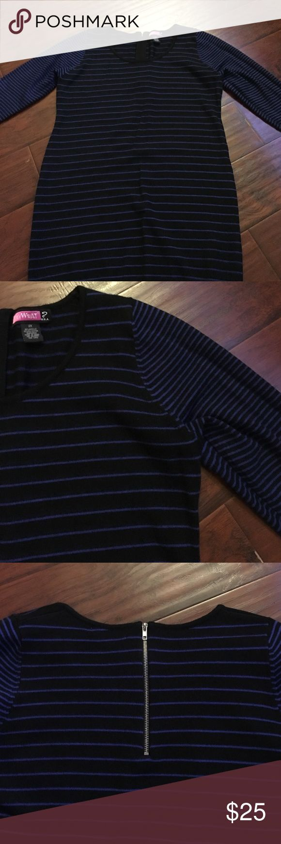 Black and blue long sleeve plus size dress Long sleeve stripped black and blue plus size dress, sweatshirt dress, perfect condition ❤️🎉FINAL PRICE🎉❤️ Dresses Long Sleeve