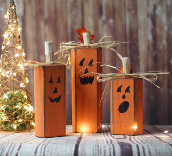 wood pumpkins rustic halloween decor pumpkin decor reclaimed wood hand painted pumpkins - Wooden Halloween Decorations