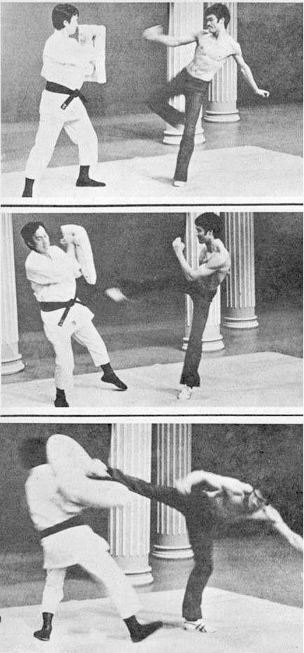 Bruce Lee Powerful Sidekick Demonstration. JKD