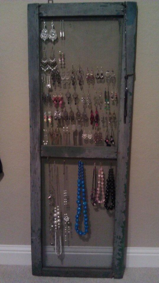 Re Purposed Old Screen Door For Hanging Jewelry Old Hanging Screens For  Doors