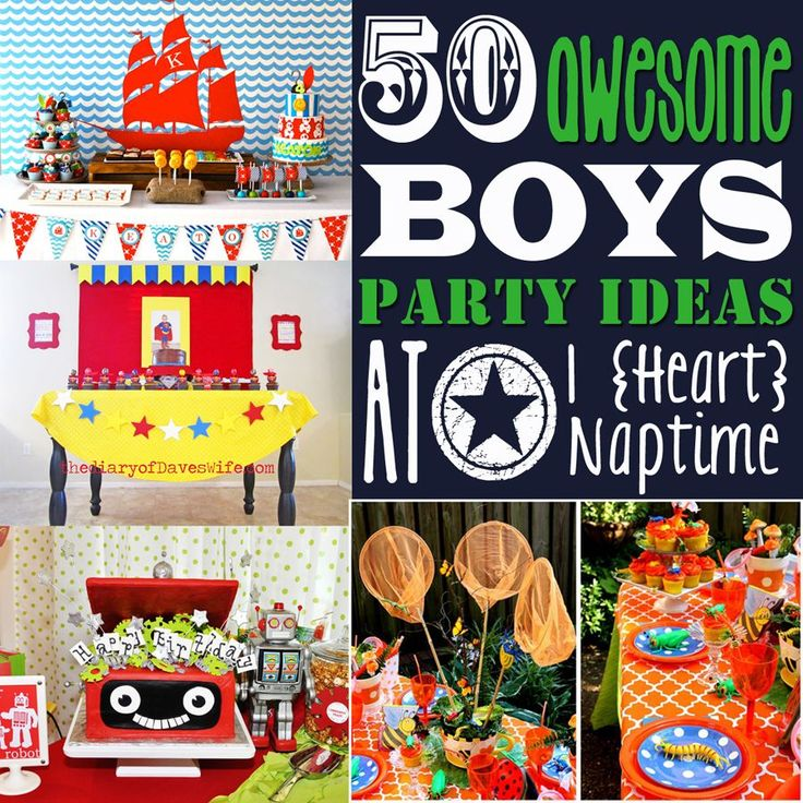 50 Awesome Boys' Party Ideas! So many cute ideas, and appropriate for different ages and interests, too!: Awesome Boys, Boys Birthday, Birthday Boy, Boy Birthday, Partyideas, 50 Awesome, Party Ideas