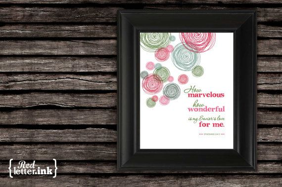 Wall Art  How Marvelous green red pink Ephesians by RedLetterInk