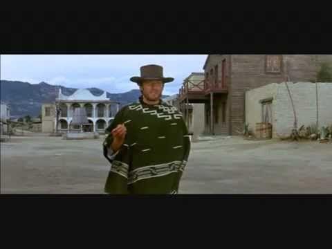 Clint Eastwood - Por un puñado de dólares. La música en esta escena recrea y nos sitúa en el lejano oeste.