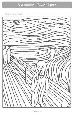 More famous art to print and color! (Munch : Le Cri)