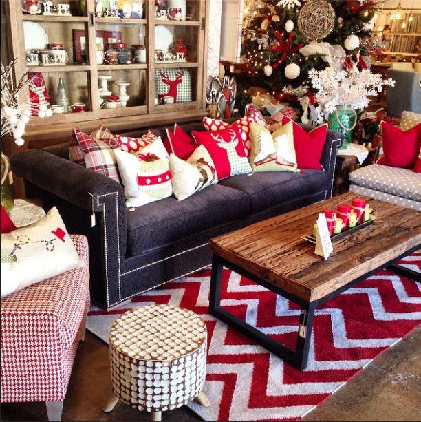 Fun Christmas Pillows Grey Polka Dot Settee Red And