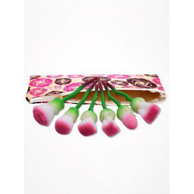 6Pcs Rose Design Makeup Brushes Set With Floral Bag $17.59