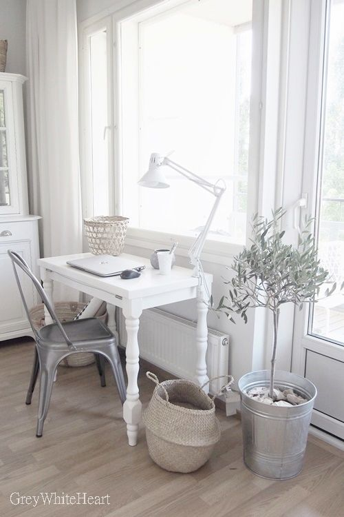 Perfect idea for a small computer workspace built into a breakfast area or fami