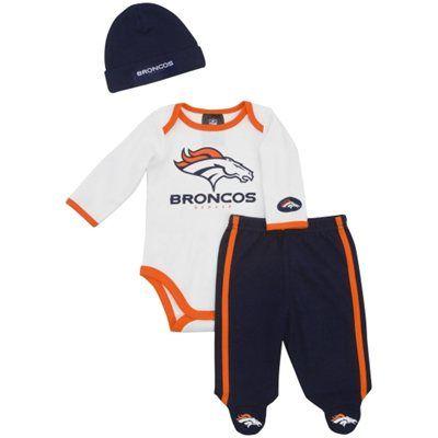 Gerber Denver Broncos Newborn Onesie, Footed Pants and Beanie Set - Orange/Navy Blue/White