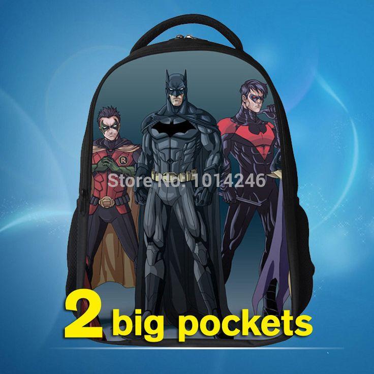2014 новый бэтмен мешок школы детей рюкзаки с новым дизайном и молнии дети мальчик мультфильм бэтмен рюкзак 29*18*42 см