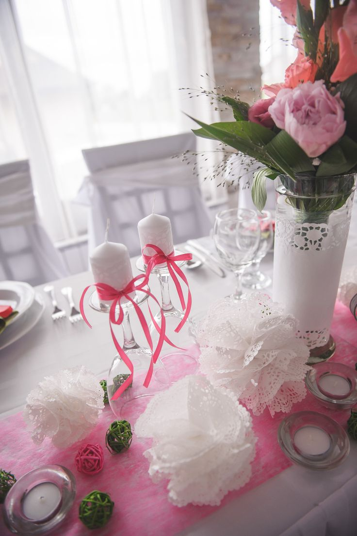 My own wedding: peonies, lace, candles all in pink and green