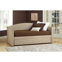 From Wal-Mart $359: Covered in a beige tweed fabric, The Celeste comes with a single trundle bed, allowing it to sleep two people comfortably.    Hillsdale Furniture Celeste Daybed, Beige Tweed Fabric:Transitional designMatching trundle unit availableArrives in 2 boxesAccommodates twin size mattress only