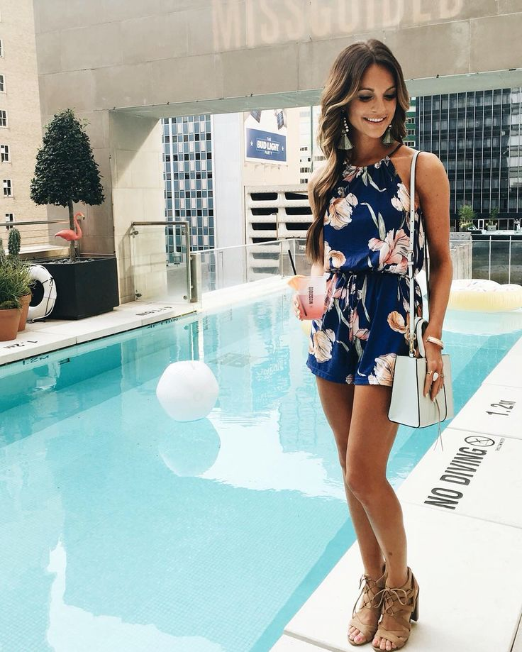 Navy blue and floral romper. Summer party style.