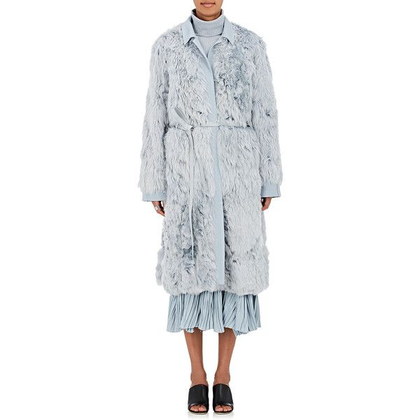 Sies Marjan Women's Alpaca Fur Belted Coat featuring polyvore, women's fashion, clothing, outerwear, coats, light blue, light blue fur coat, alpaca wool coats, belt coat, alpaca coat and leather belt