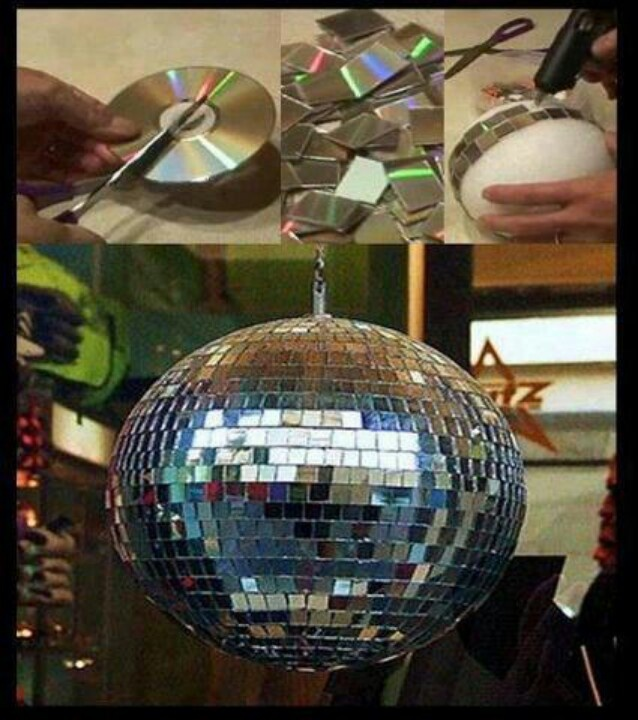 Need: Lots of CDs, a sharp knife or scissor, large ball, glue and a hanging hook