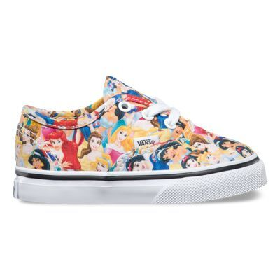 Vans and Disney come together for an enchanting collaboration that features some of the most beloved and iconic Disney Princesses. Bringing to life their everlasting stories of adventure, the Multi Princess Disney Authentic combines the original and now iconic Vans low top style with a custom collage featuring Snow White, Cinderella, Aurora, Ariel, Belle, and Jasmine. The Disney Authentic also includes sturdy canvas uppers, metal eyelets, and signature waffle rubber outsoles.