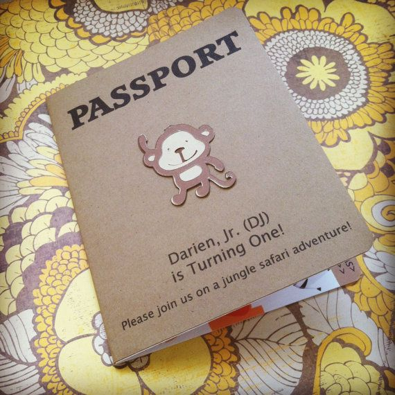 Passport Birthday Invitation - Jungle Safari Theme on Etsy, $5.00