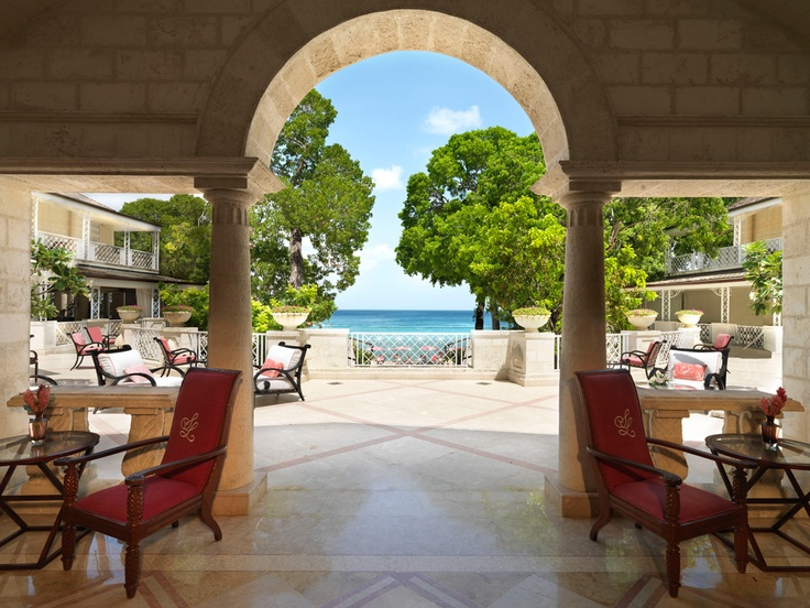 Welcome to Sandy Lane Hotel! View from reception.