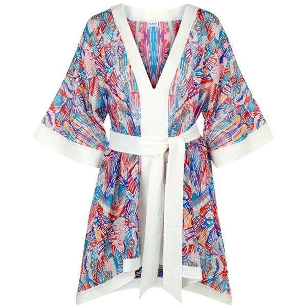 La Perla Free Spirit MultiColoured Seersucker Kaftan ($585) ❤ liked on Polyvore featuring tops, tunics, beachwear, cover-ups, multicolor, v-neck tunic, multi color tops, plunge-neck tops, kimono sleeve tunic and caftan tops