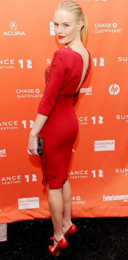 Look of the Day › January 23, 2012 WHAT SHE WORE At the Sundance Film Festival premiere of Black Rock, Kate Bosworth sizzled in an embroidered Antonio Berardi sheath and matching Casadei pumps. WHY WE LOVE IT The red hot actress worked all angles of her sexy scarlet design.