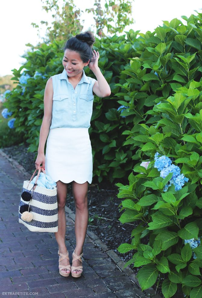 ExtraPetite.com - Cape Cod charm: TopShop scallop skirt   sleeveless chambray