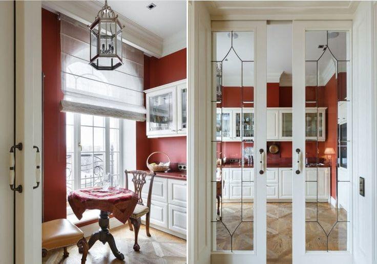 Красные стены в интерьере кухни в английском стиле