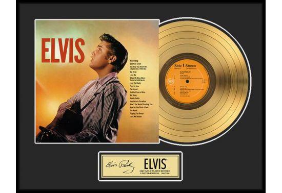 """ELVIS PRESLEY """"GOLD LP"""" Disque d'or 24CT avec encadrement en verre Dimensions 45 cm x 61 cm"""