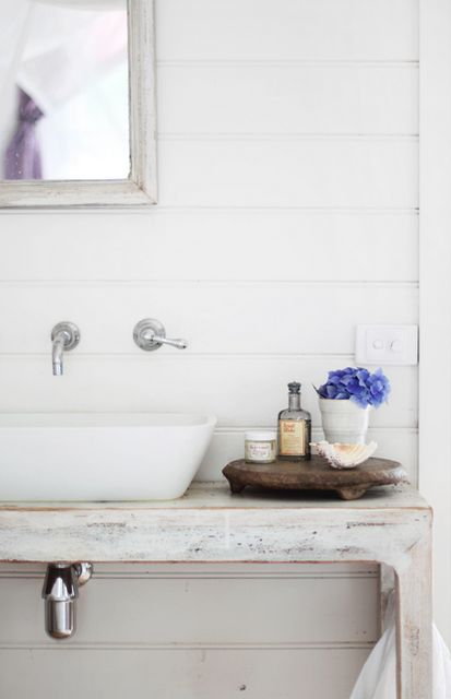 Beachy bath.  Wall mount faucet, ship lap