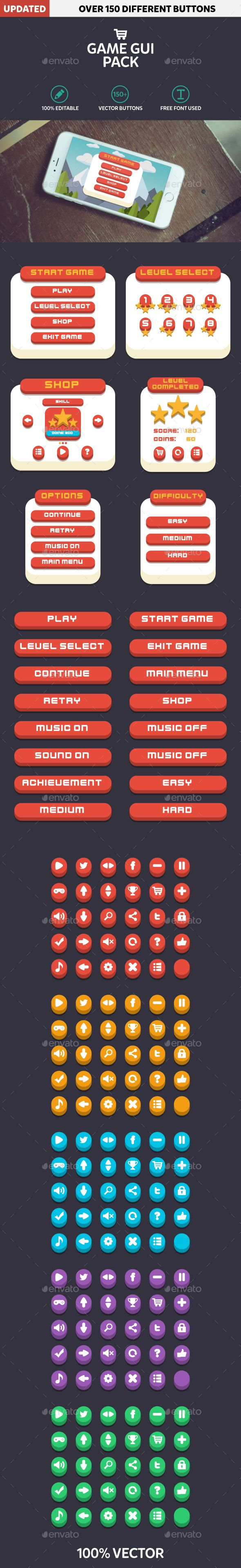 Mobile Game GUI Pack Flat Modern Template Transparent PNG, Vector EPS, AI Illustrator. Download here: https://graphicriver.net/item/mobile-game-gui-pack-flat-modern/17091409?ref=ksioks