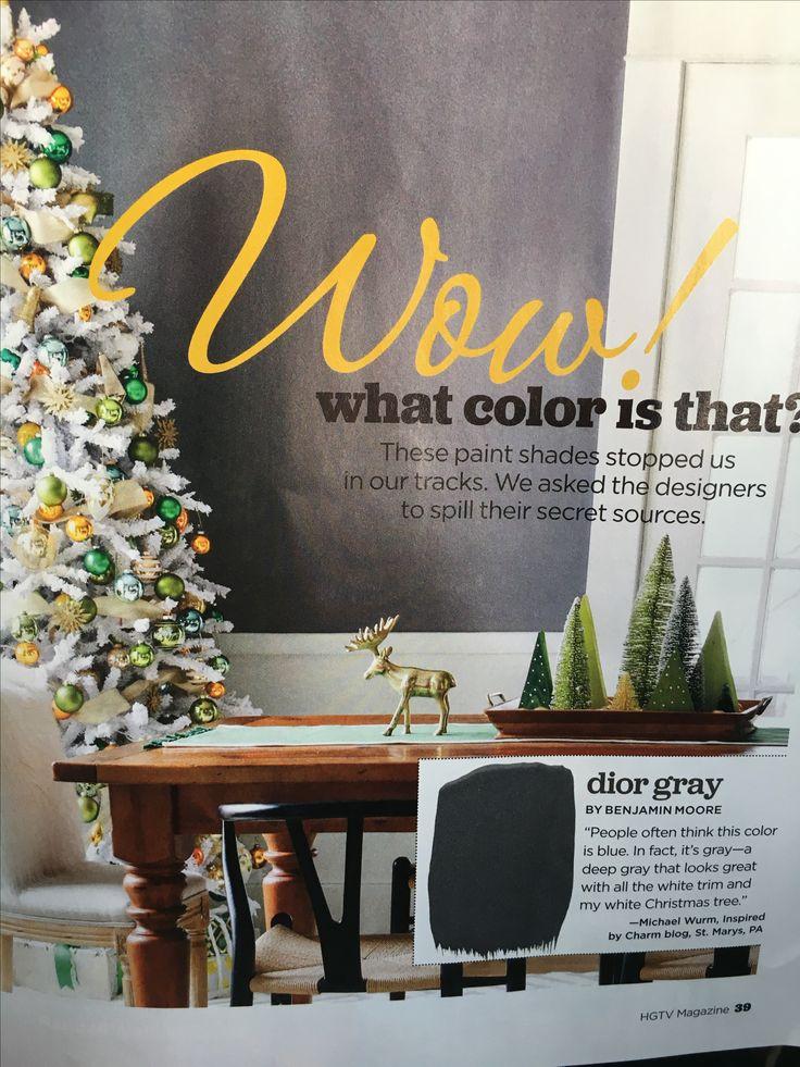 Dior Gray by Benjamin Moore HGTV Magazine Dec 2016                                                                                                                                                                                 More