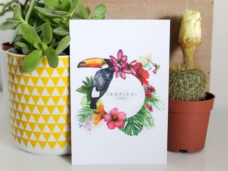 Carte Postale Tropicale, toucan, palme, feuille tropicales