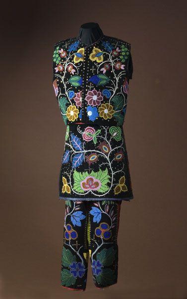 Stunning--absolutely, stunning! Chippewa Beaded Dance Costume, - leggings, vest, breech cloths; beading, beadwork, native american, bead work  Chippewa Beaded Dance Costume, - Cowan's Auctions