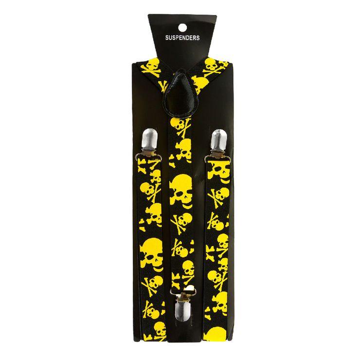 Hosenträger Unisex verstellbar Y -Form - schwarz - gelbe Totenköpfe in Bekleidung Accessoire  • Hosenträger