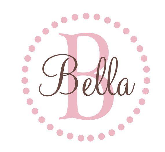 "Polka Dot Border Circle Initial Custom Personalized Monogram and Name Vinyl Wall Decal Teen Boy Girl Baby Nursery Cute Design 22""H x 22"" W on Etsy, $35.00"