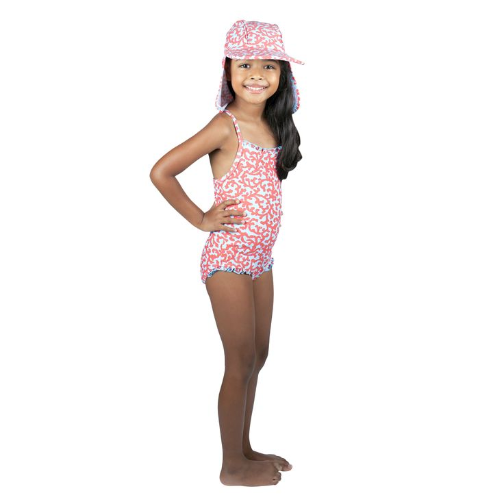 Frolik Coral ensemble - Sun Hat and Swimsuit. Available at www.frolikbeachstyle.com in sizes 2-3, 4-5, 6-7 and 8-9yrs.