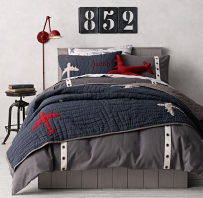 ST - This gray duvet is great with the grommets.  Duvets can be a pain though.  (Grommet Twill Tape & Vintage Airplane Blueprint Bedding Collection)