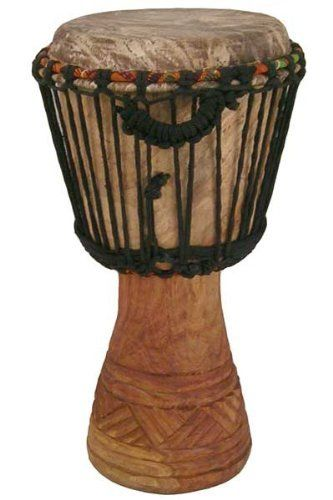"Hand-carved Djembe Drum From Africa - 9""x 18"" Classic Ghana Djembe by Africa Heartwood Project .org. $59.95. Africa Heartwood Project djembes are hand-carved experienced drum makers in West Africa. The Classical djembes are specially crafted with sound quality and playability in mind, with additional attention give to aesthetics. The 9 ""X18"" is a small size version of the real thing, capable of producing a full range of djembe sounds with surprisingly great volume and depth. ..."