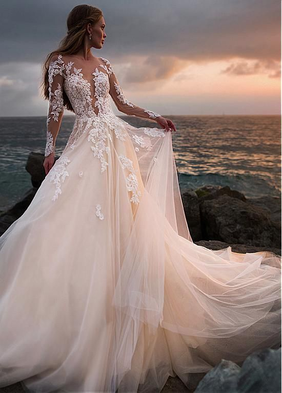 Stunning Tulle Sheer Bateau Neckline A-line Wedding Dress With Beaded Lace Appli