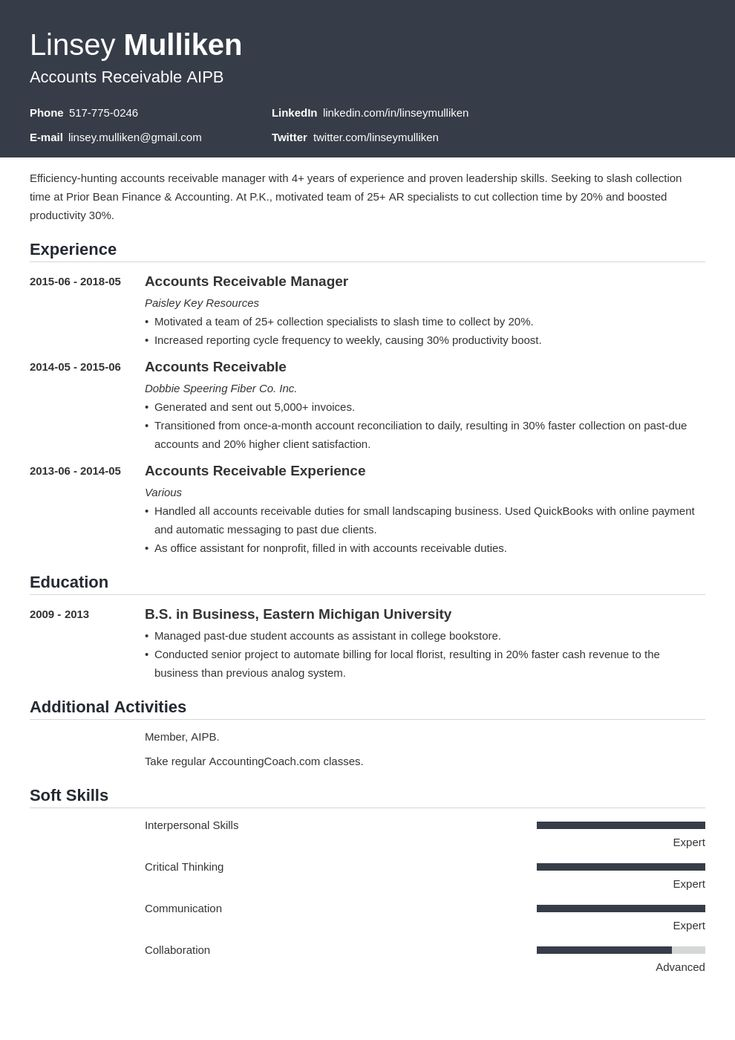 accounts receivable resume example template influx